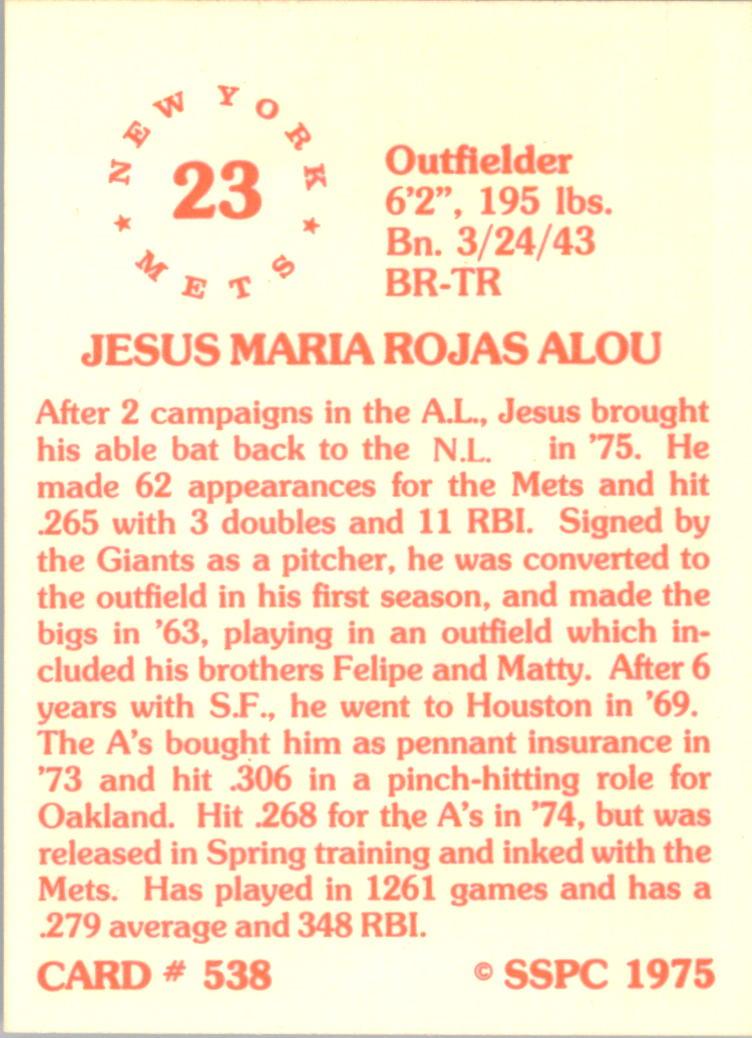1976 SSPC #538 Jesus Alou back image