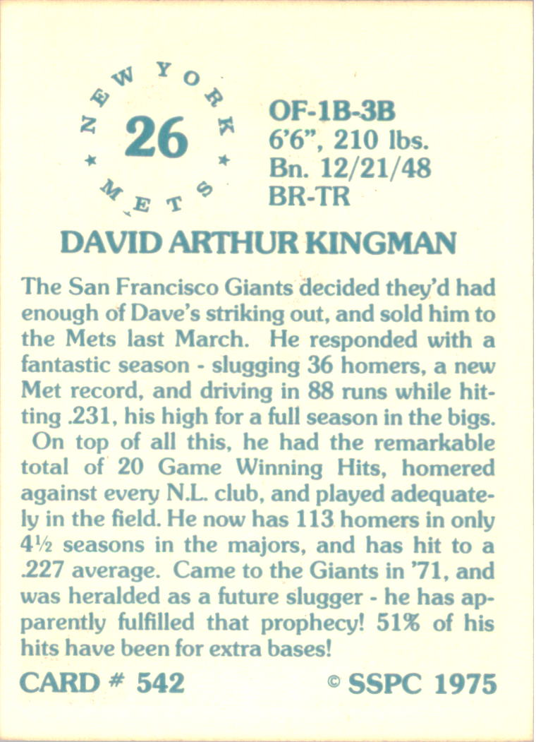 1976 SSPC #542 Dave Kingman back image