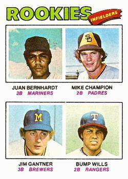 1977 Topps #494 Rookie Infielders/Juan Bernhardt RC/Mike Champion RC/Jim Gantner RC/Bump Wills RC