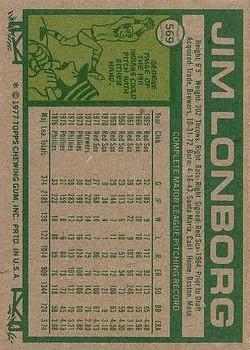 1977 Topps #569 Jim Lonborg back image