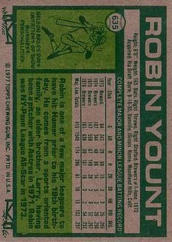 1977 Topps #635 Robin Yount back image