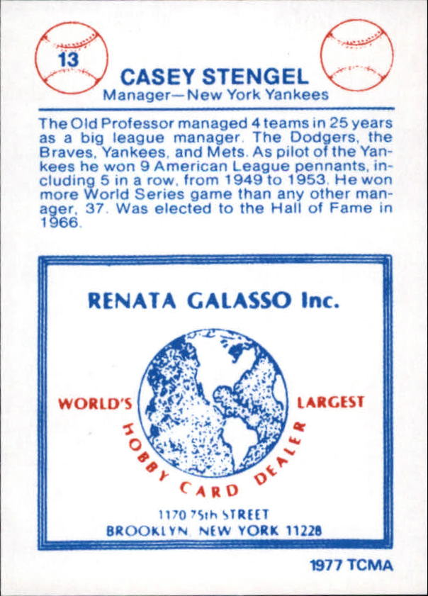 1977-84 Galasso Glossy Greats #13 Casey Stengel back image