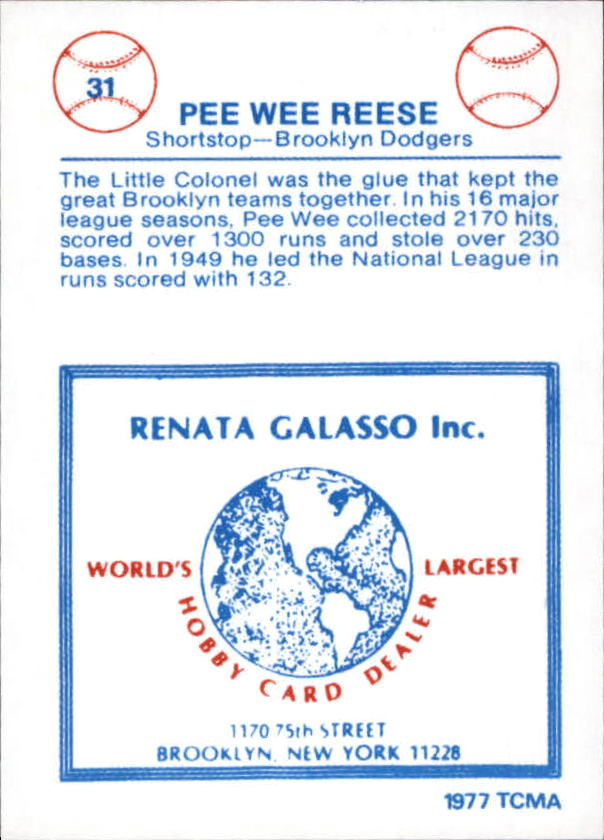 1977-84 Galasso Glossy Greats #31 Pee Wee Reese back image