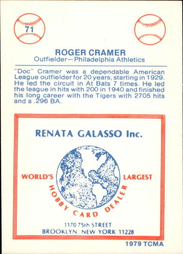 1977-84 Galasso Glossy Greats #71 Doc Cramer back image
