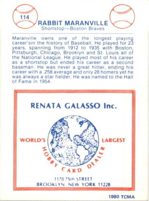 1977-84 Galasso Glossy Greats #114 Rabbit Maranville back image