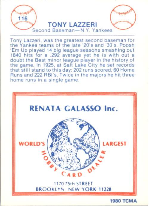 1977-84 Galasso Glossy Greats #116 Tony Lazzeri back image