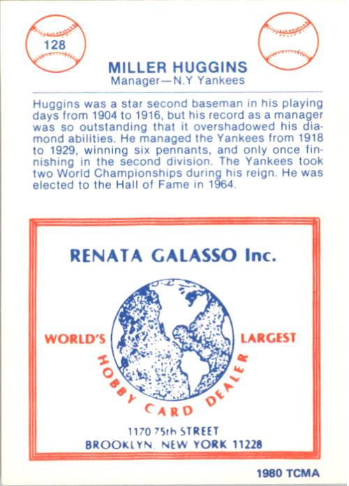 1977-84 Galasso Glossy Greats #128 Miller Huggins back image