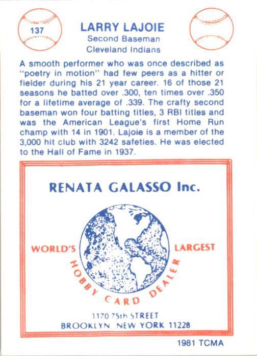 1977-84 Galasso Glossy Greats #137 Nap Lajoie back image