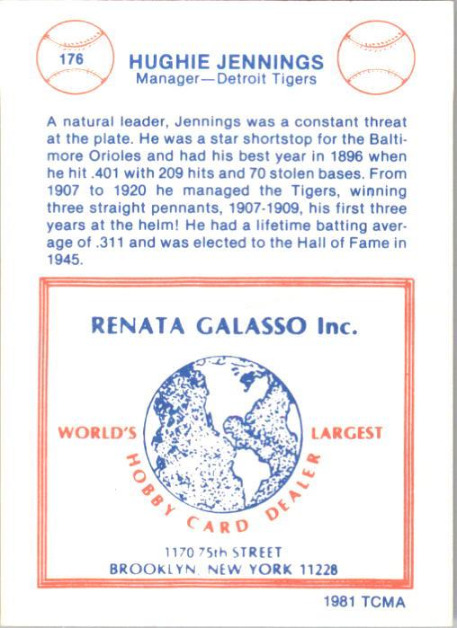 1977-84 Galasso Glossy Greats #176 Hughie Jennings MG back image