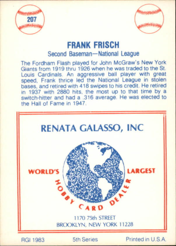 1977-84 Galasso Glossy Greats #207 Frank Frisch back image