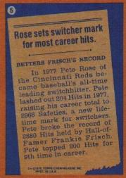 1978 Topps #5 Pete Rose RB back image