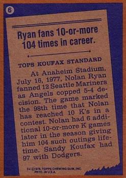 1978 Topps #6 Nolan Ryan RB back image
