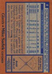 1978 Topps #8 Mike Sadek back image