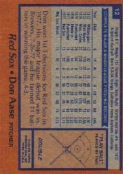 1978 Topps #12 Don Aase back image
