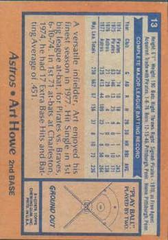 1978 Topps #13 Art Howe RC back image