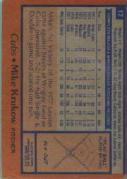 1978 Topps #17 Mike Krukow back image