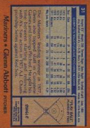 1978 Topps #31 Glenn Abbott back image