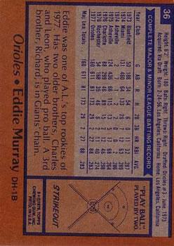 1978 Topps #36 Eddie Murray RC back image