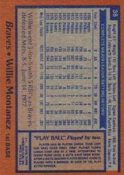 1978 Topps #38 Willie Montanez back image