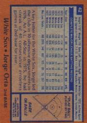 1978 Topps #42 Jorge Orta back image