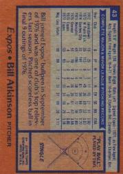 1978 Topps #43 Bill Atkinson RC back image