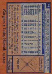 1978 Topps #44 Toby Harrah back image