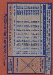 1978 Topps #52 Jim Lonborg back image