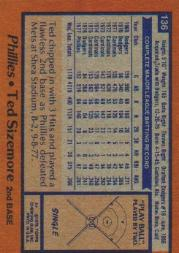 1978 Topps #136 Ted Sizemore back image