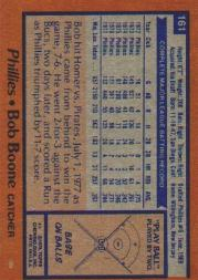 1978 Topps #161 Bob Boone back image