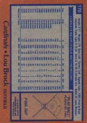 1978 Topps #170 Lou Brock back image
