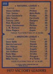 1978 Topps #205 Victory Leaders/Steve Carlton/Dave Goltz/Dennis Leonard/Jim Palmer back image