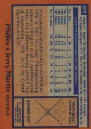 1978 Topps #222 Jerry Martin back image