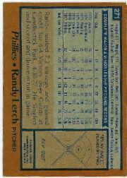 1978 Topps #271 Randy Lerch DP back image