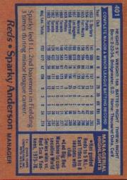 1978 Topps #401 Sparky Anderson MG back image