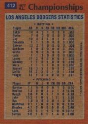 1978 Topps #412 NL Championships/Davey Lopes back image