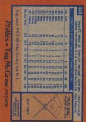 1978 Topps #446 Tug McGraw back image
