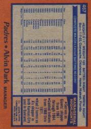 1978 Topps #467 Alvin Dark MG back image