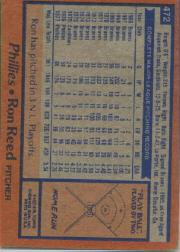 1978 Topps #472 Ron Reed back image