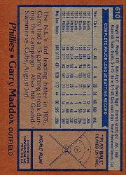 1978 Topps #610 Garry Maddox back image