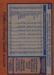 1978 Topps #631 Danny Ozark MG back image