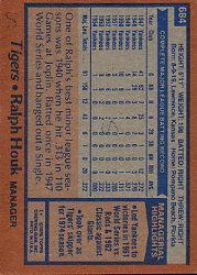 1978 Topps #684 Ralph Houk MG back image