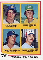 1978 Topps #709 Rookie Pitchers/Steve Burke RC/Matt Keough RC/Lance Rautzhan RC/Dan Schatzeder RC