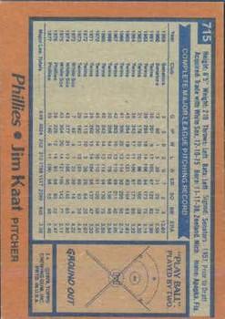 1978 Topps #715 Jim Kaat back image