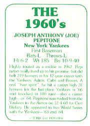1978 TCMA 60'S I #6 Joe Pepitone back image