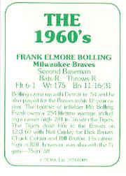 1978 TCMA 60'S I #9 Frank Bolling back image