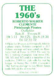 1978 TCMA 60'S I #13 Roberto Clemente back image