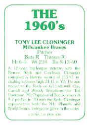 1978 TCMA 60'S I #20 Tony Cloninger back image