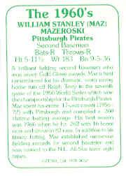 1978 TCMA 60'S I #62 Bill Mazeroski back image