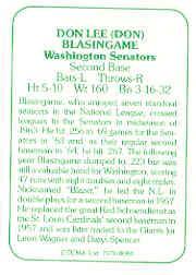 1978 TCMA 60'S I #84 Don Blasingame back image