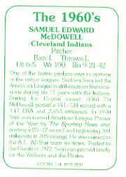 1978 TCMA 60'S I #103 Sam McDowell back image